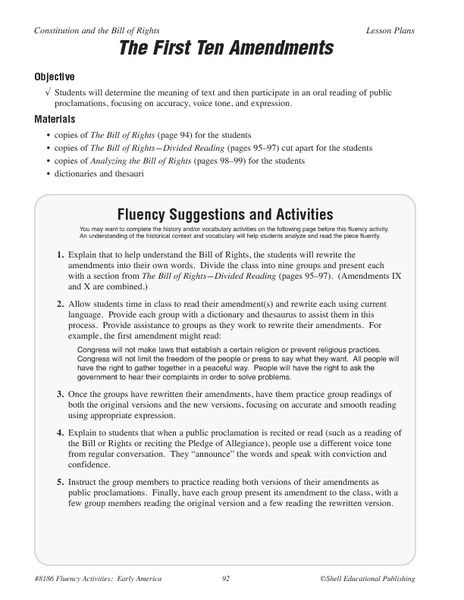 Amendments worksheets 5th grade