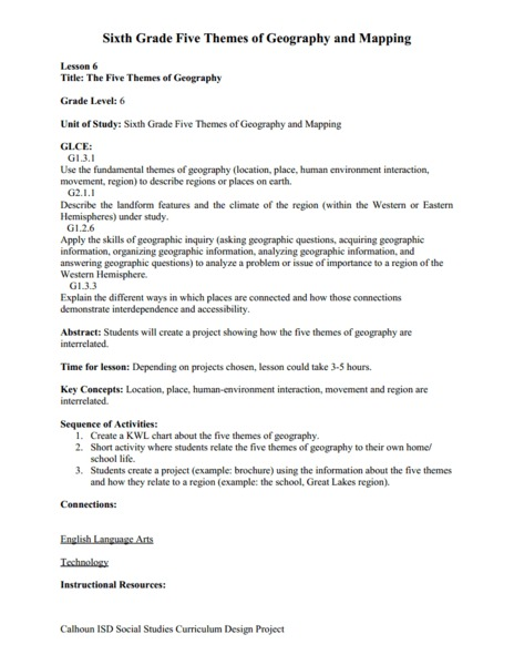 Printables Themes Of Geography Worksheet the five themes of geography 7th 9th grade worksheet lesson planet