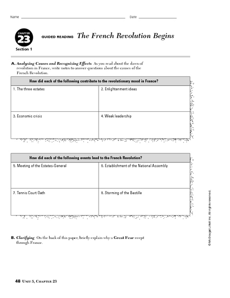 worksheets french revolution worksheets opossumsoft worksheets and printables. Black Bedroom Furniture Sets. Home Design Ideas