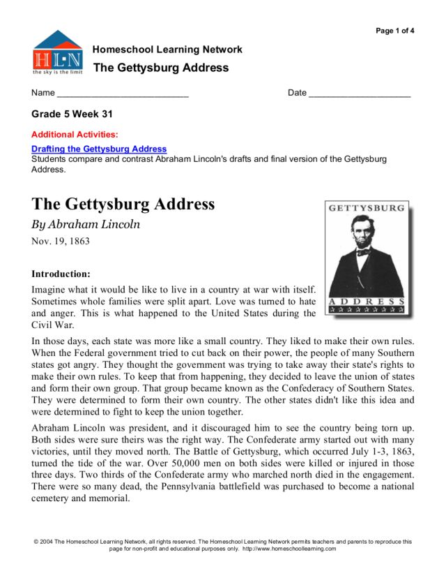 Worksheets Gettysburg Address Worksheet the gettysburg address 5th 6th ...