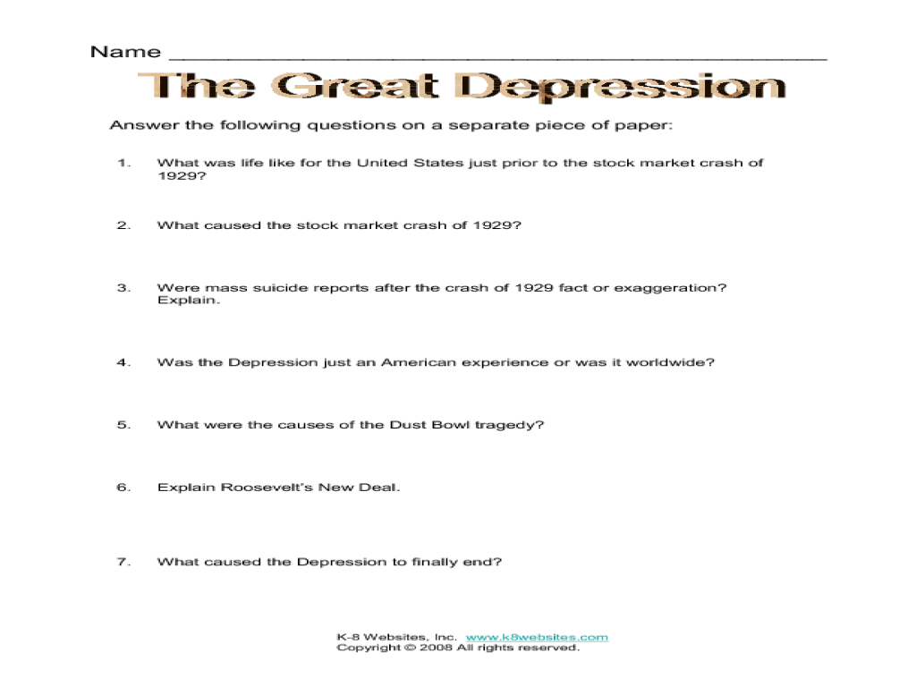 causes of the great depression worksheet Termolak – Causes of the Great Depression Worksheet