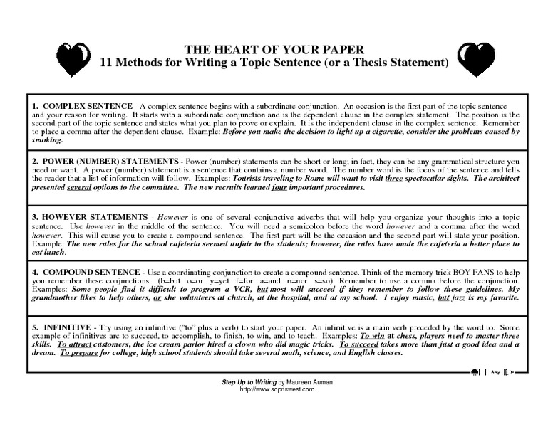 Worksheet Thesis Statement Worksheet the heart of your paper 11 methods for writing a topic sentence or thesis statement 5th 8th grade worksheet lesson planet