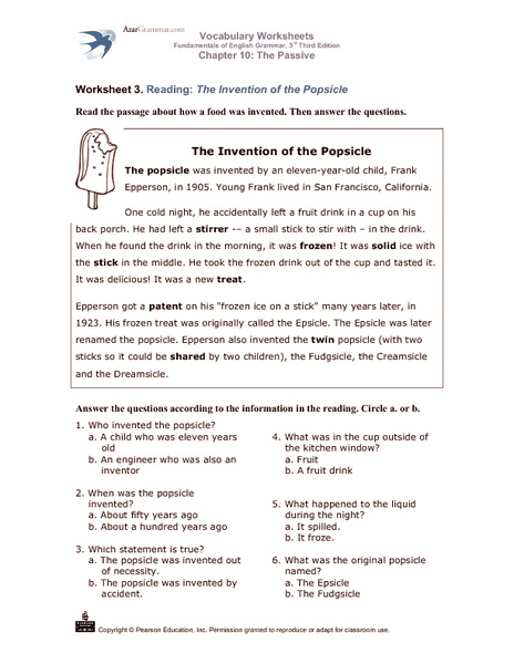 The Invention of the Popsicle 3rd - 5th Grade Worksheet | Lesson ...