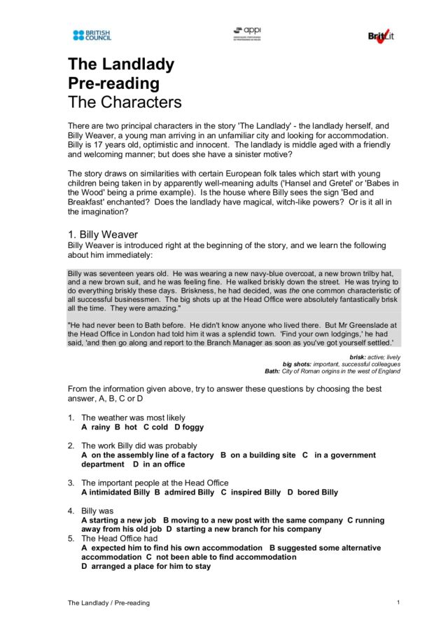 English teaching worksheets: The landlady - Roald Dahl