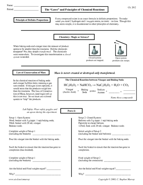 Worksheet Chemical Reactions Worksheet the laws and principles of chemical reactions 10th 12th grade worksheet lesson planet
