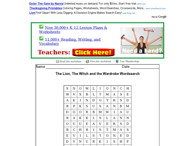 Printables The Lion The Witch And The Wardrobe Worksheets the lion witch and wardrobe wordsearch 2nd 3rd grade worksheet lesson planet