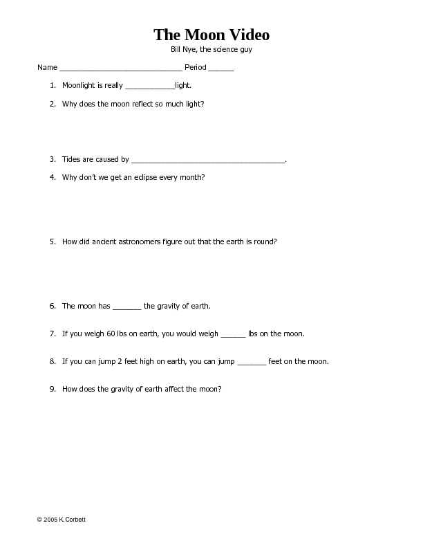 Bill Nye Gravity Worksheet Free - Worksheets for Kids, Teachers & Free ...