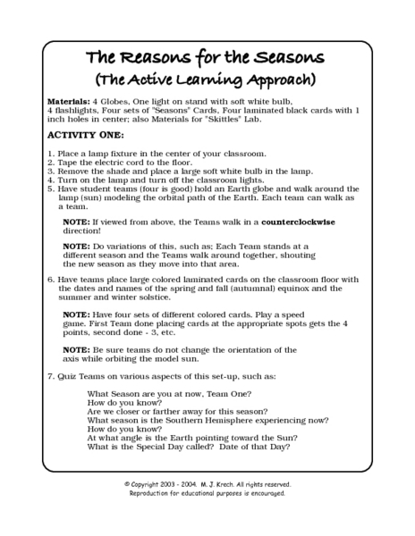 The Reasons for the Seasons 7th - 10th Grade Worksheet | Lesson Planet