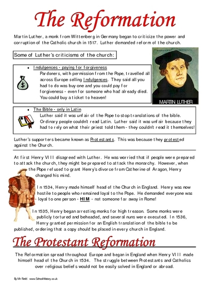 worksheets on reformation - The Best and Most Comprehensive Worksheets