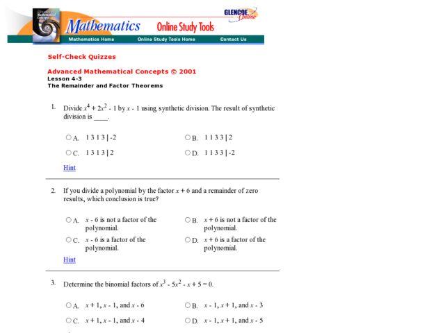 Worksheets Remainder Theorem Worksheet the remainder and factor theorems 10th 12th grade worksheet lesson planet