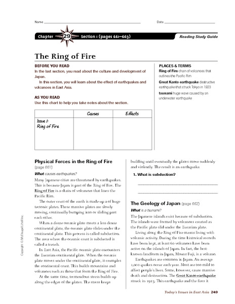 The Ring of Fire 6th - 8th Grade Worksheet | Lesson Planet