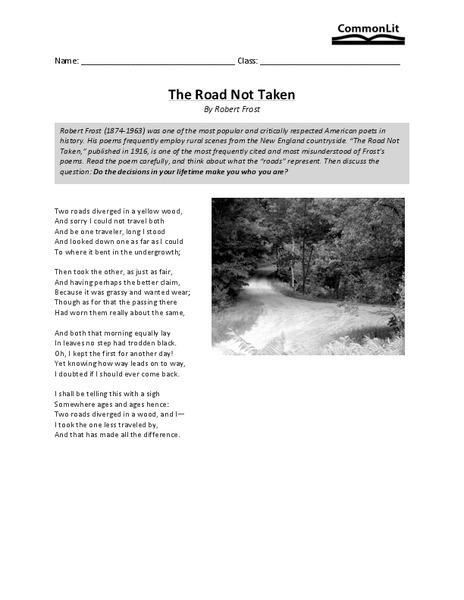 The Road Not Taken Worksheet - Worksheets