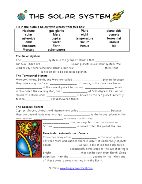 second grade solar system worksheets - photo #1