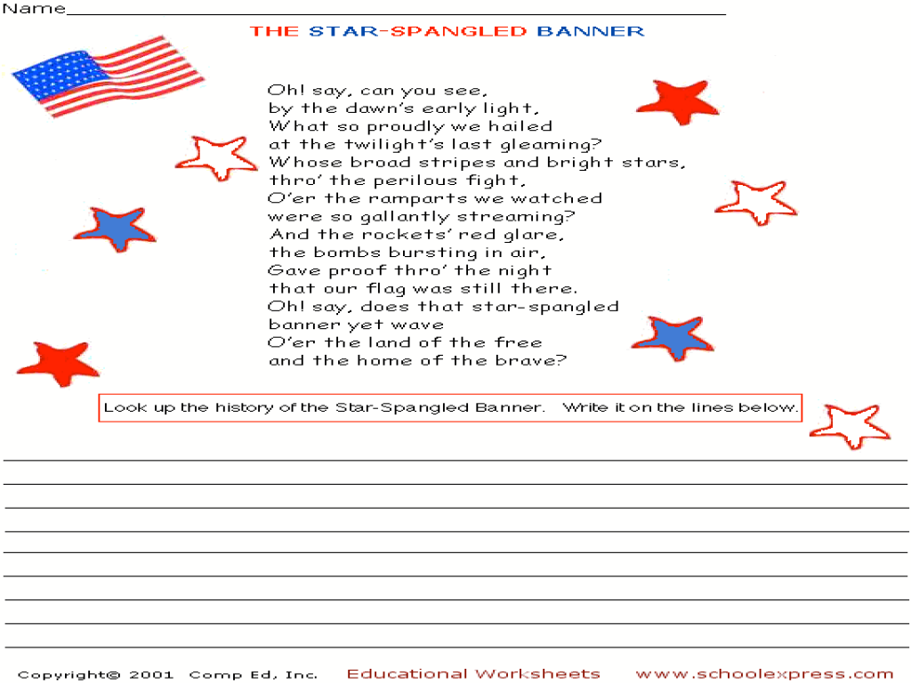 star spangled banner worksheet Termolak – Star Spangled Banner Worksheet