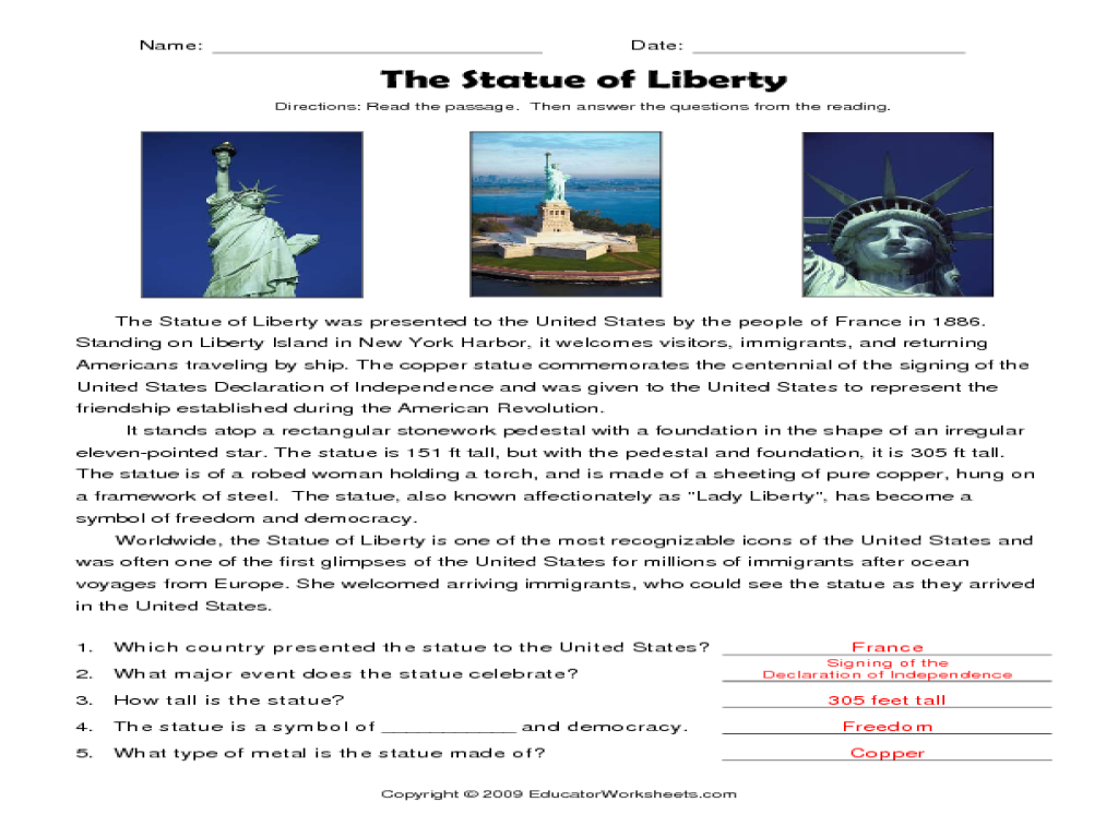 The Statue of Liberty 4th - 5th Grade Worksheet | Lesson Planet