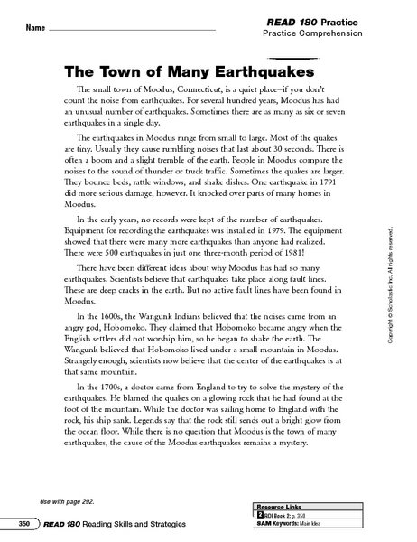 Printables 6th Grade Main Idea Worksheets the town of many earthquakes main idea and details 5th 6th grade worksheet lesson planet