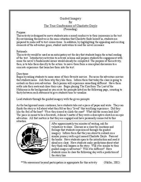 Printables Imagery Worksheets imagery worksheet davezan the true confessions of charlotte doyle guided 7th 8th