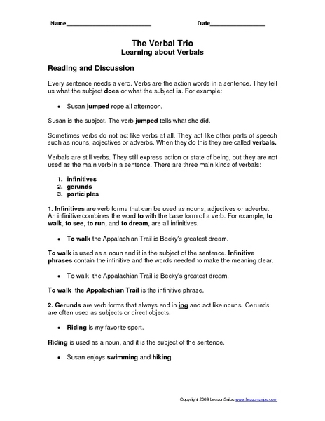 Gerund worksheets 8th grade