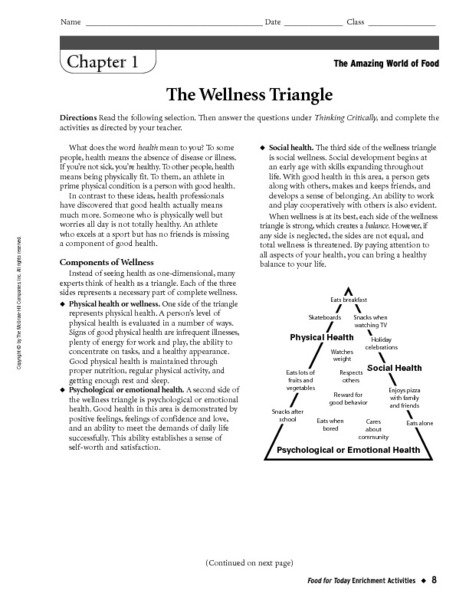 Printables Health Triangle Worksheet the wellness triangle 6th 9th grade worksheet lesson planet