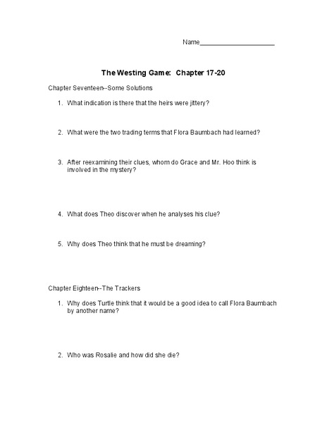 Worksheets The Westing Game Worksheets the westing game chapter 17 20 10th 11th grade worksheet lesson planet