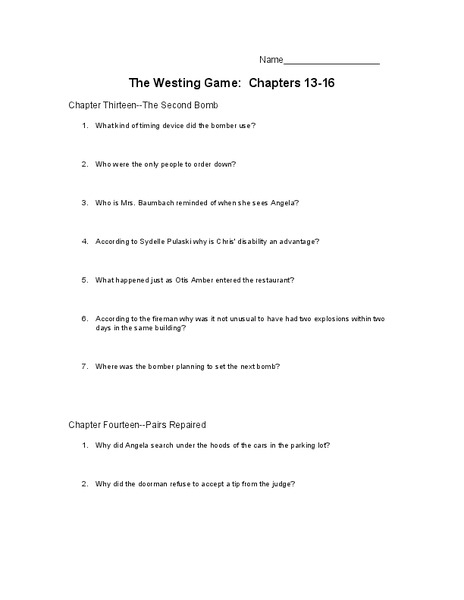 Printables The Westing Game Worksheets the westing game chapters 13 16 10th 11th grade worksheet lesson planet