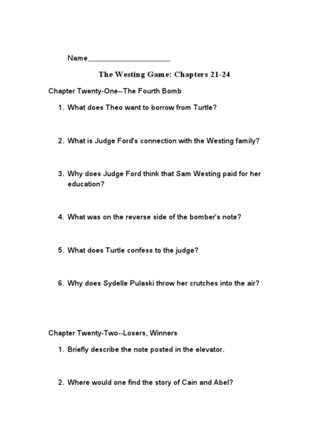 westing game essay questions Log in with facebook the westing game questions and answers the question and answer sections of our study guides are a great resource to ask questions, find answers.
