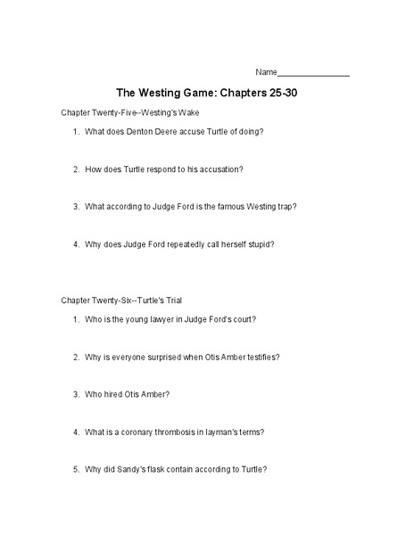 Printables The Westing Game Worksheets the westing game chapters 25 30 10th 11th grade worksheet lesson planet