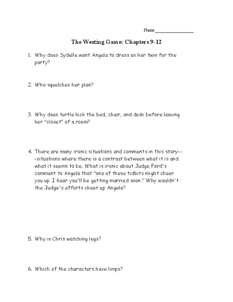 Printables The Westing Game Worksheets the westing game chapters 9 12 10th 11th grade worksheet lesson planet