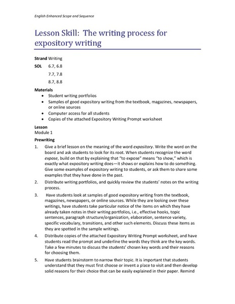 expository essay writing lesson plans An expository writing lesson plan for elementary-school students background this lesson plan was developed for a school where a large number of students in the fourth grade performed poorly on the writing portion of a new state exam.