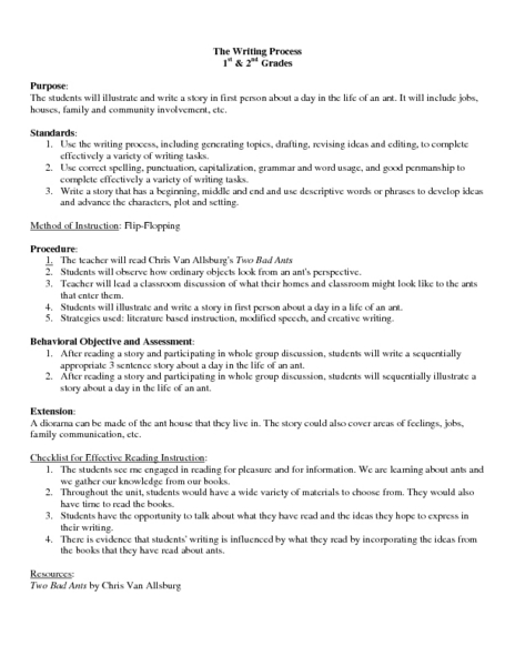 the writing process lesson plans Picture the writing process: a mystery writing lesson plan students learn about blue balliett's writing process and write their own mystery stories.