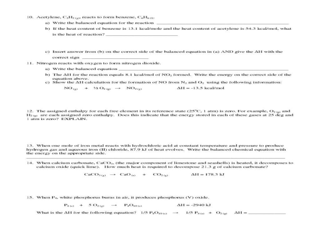 Thermochemistry Review Worksheets - The Best and Most ...