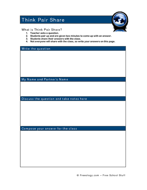 Think Pair Share 2nd 6th Grade Worksheet – Think Pair Share Worksheet