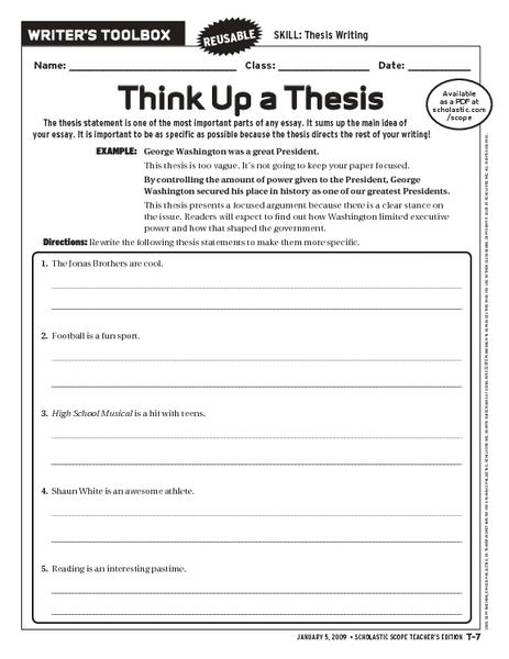 middle school thesis statement lesson plans