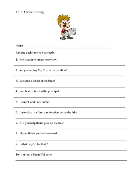 Printables Third Grade Editing Worksheets third grade editing worksheets davezan 3rd 4th worksheet lesson planet