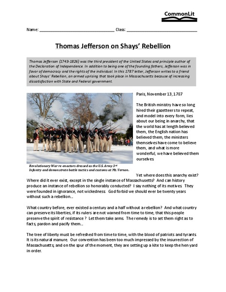 "shay's and whiskey rebellion thomas jefferson The record seems clear that thomas jefferson believed in the right of secession   western pennsyvlania to put down the ""whiskey rebellion"" in 1794  who  said that shay's rebellion was no cause for alarm, as the tree of."
