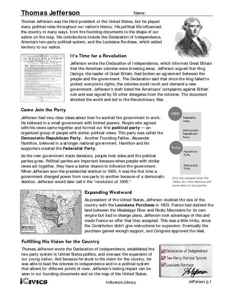 Thomas Jefferson 6th Grade Worksheet | Lesson Planet
