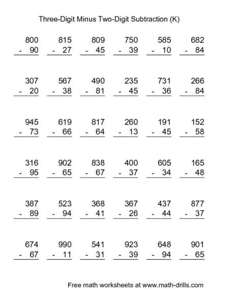 Addition : three digit addition and subtraction worksheets Three ...
