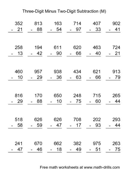 Three-Digit Minus Two-Digit Subtraction (M) 2nd - 3rd Grade ...