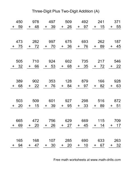 Number Names Worksheets triple digit addition with regrouping : Single Digit Addition Worksheets 100 Problems - Intrepidpath