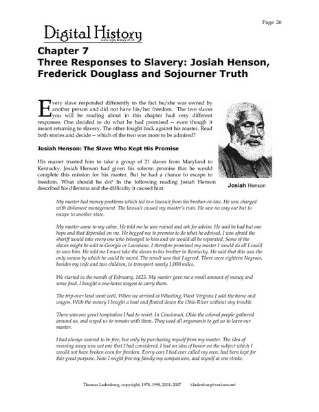 Printables Frederick Douglass Worksheet three responses to slavery josiah henson frederick douglass and sojourner truth 9th 12th grade worksheet lesson planet
