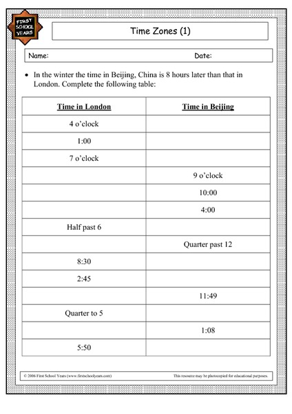Time Zone Worksheet - Templates and Worksheets