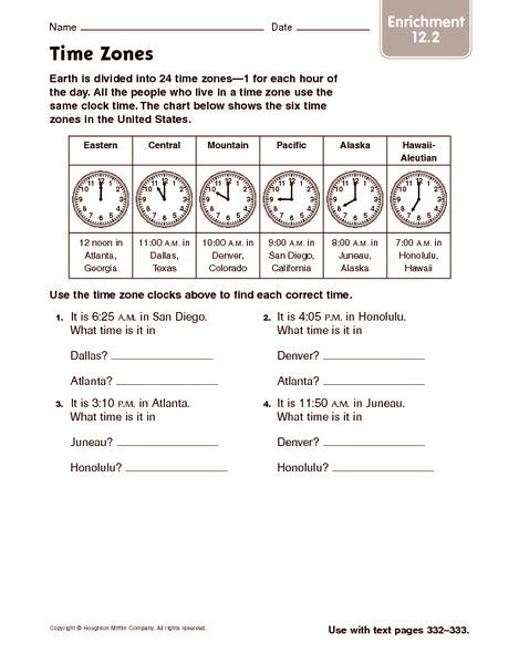 Time Zone Worksheets 3rd Grade - Grade Worksheets