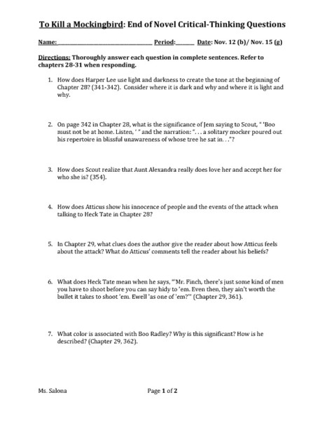 Printables To Kill A Mockingbird Worksheet Answers to kill a mockingbird end of novel critical thinking questions 9th 10th grade worksheet lesson planet