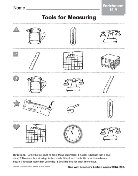 Measuring Tools Worksheet - Davezan