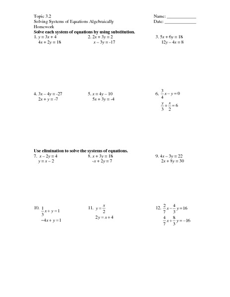 Worksheet Solving Systems Of Equations By Substitution Worksheet topic 3 2 solving systems of equations algebraically 8th 10th grade worksheet lesson planet