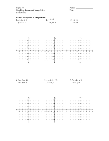 Systems Of Linear Inequalities Worksheet Free Sheets