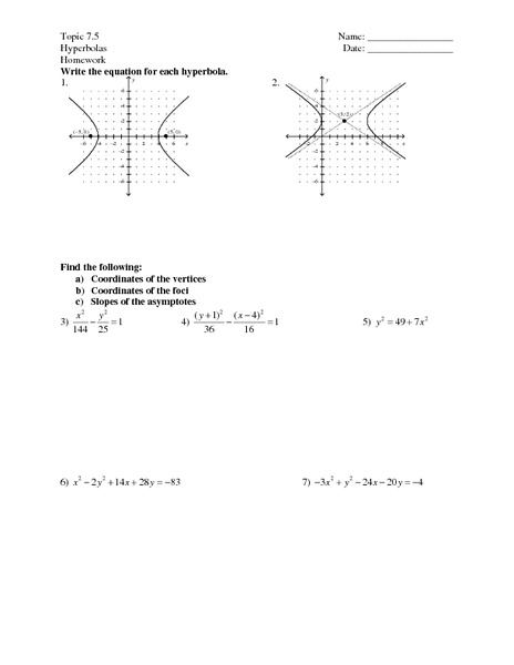 Printables Hyperbola Worksheet hyperbola worksheet davezan graphing hyperbolas with answers intrepidpath
