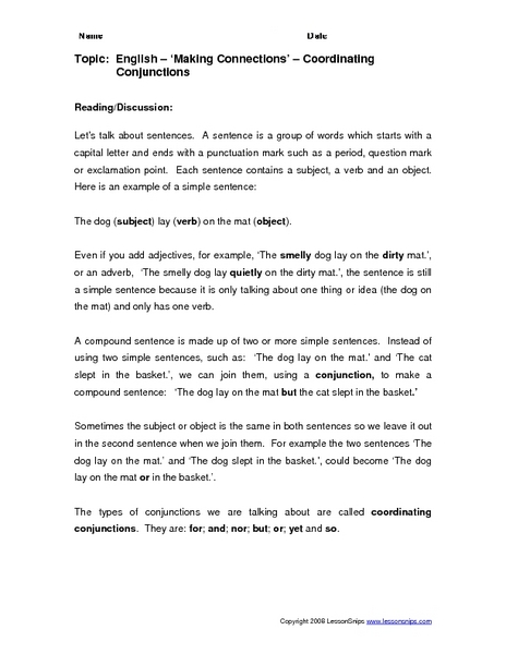 Subordinating conjunctions worksheets for grade 4