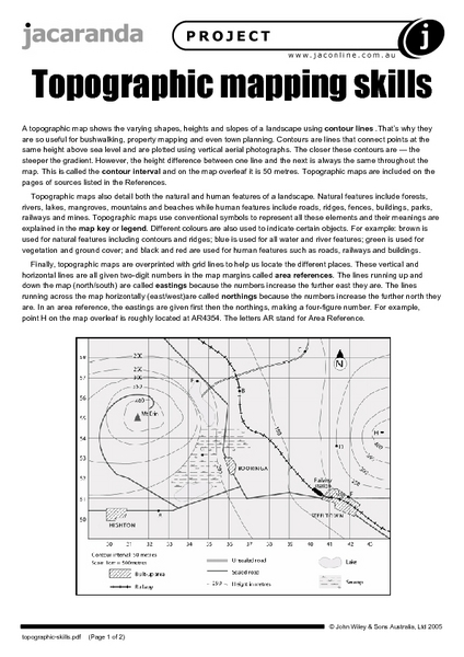 Printables Topographic Maps Worksheet topographic mapping skills 5th 9th grade worksheet lesson planet