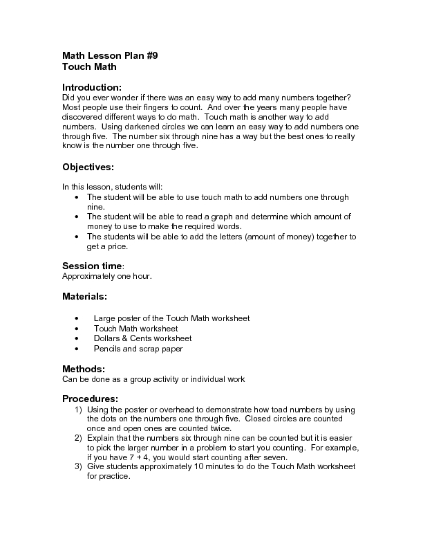 math worksheet : touch math addition worksheets for kindergarten  touchy touch  : Special Education Math Worksheets